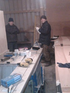 Canoe building project. Joe and Chris